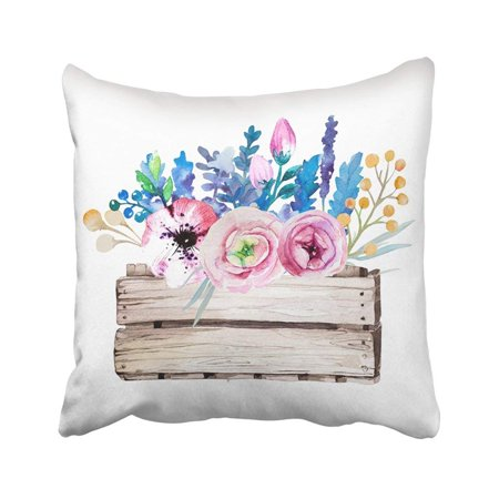 Wedding Clipart Graphics (BPBOP Blue Wedding Watercolor Feather White Design For Purple Clipart Flower Lavender Retro Pillowcase Throw Pillow Cover 18x18)