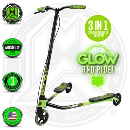 1 Scooter - MADD GEAR – X-KARVER PRO - Black Green – 3 in 1 Scooter with Light Up Wheel – Suits Boys & Girls Ages 8+ - Max Rider Weight 220lbs – 3 Year Manufacturer's Warranty – Madd Gear Est. 2002