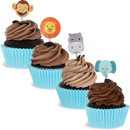 Juvale 200-Pack Jungle Safari Zoo Animal Cupcake Decorations Party Topper Picks, 1 x 3 Inches - image 7 of 7