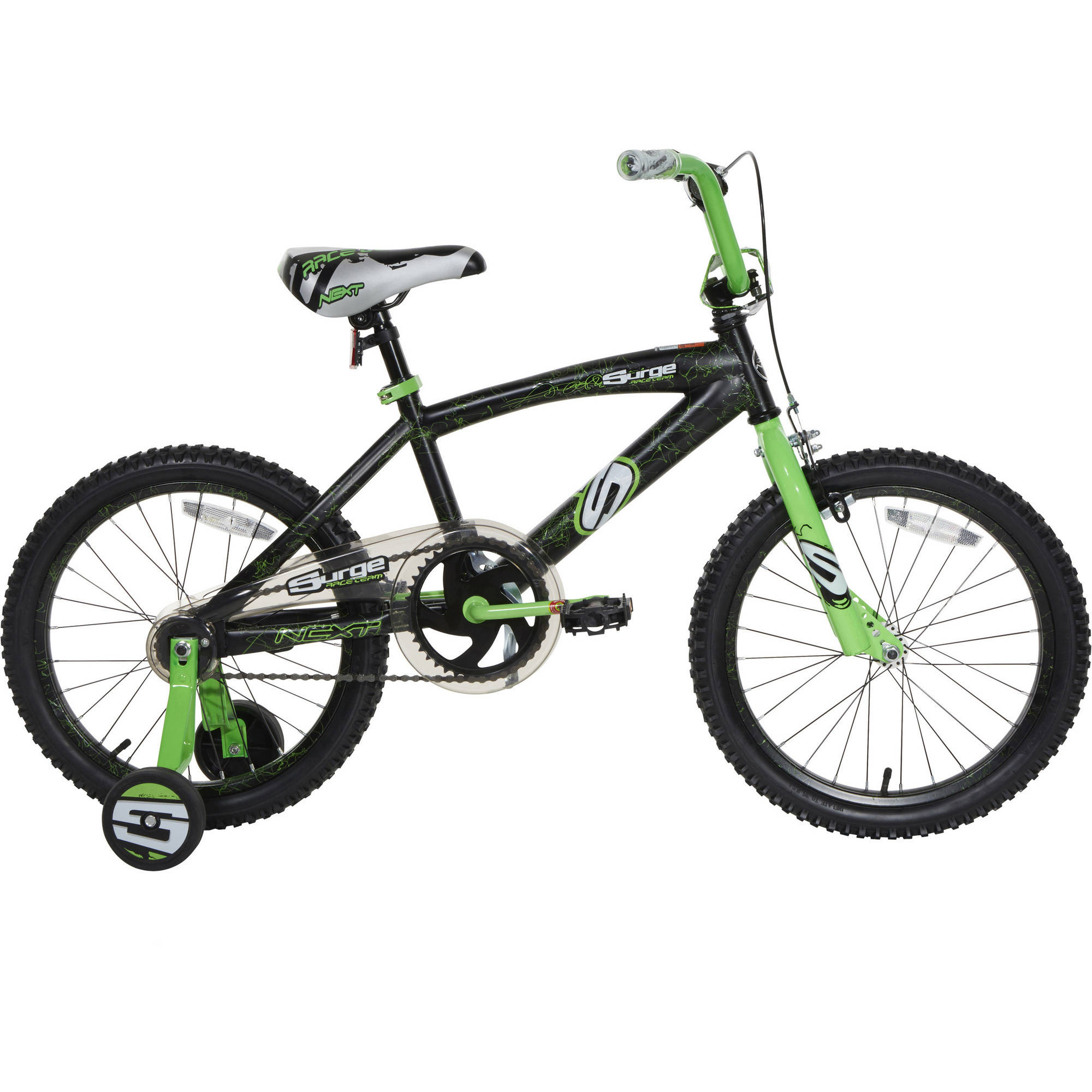 "18"" Next Surge Boys' BMX Bike, Black/Green"