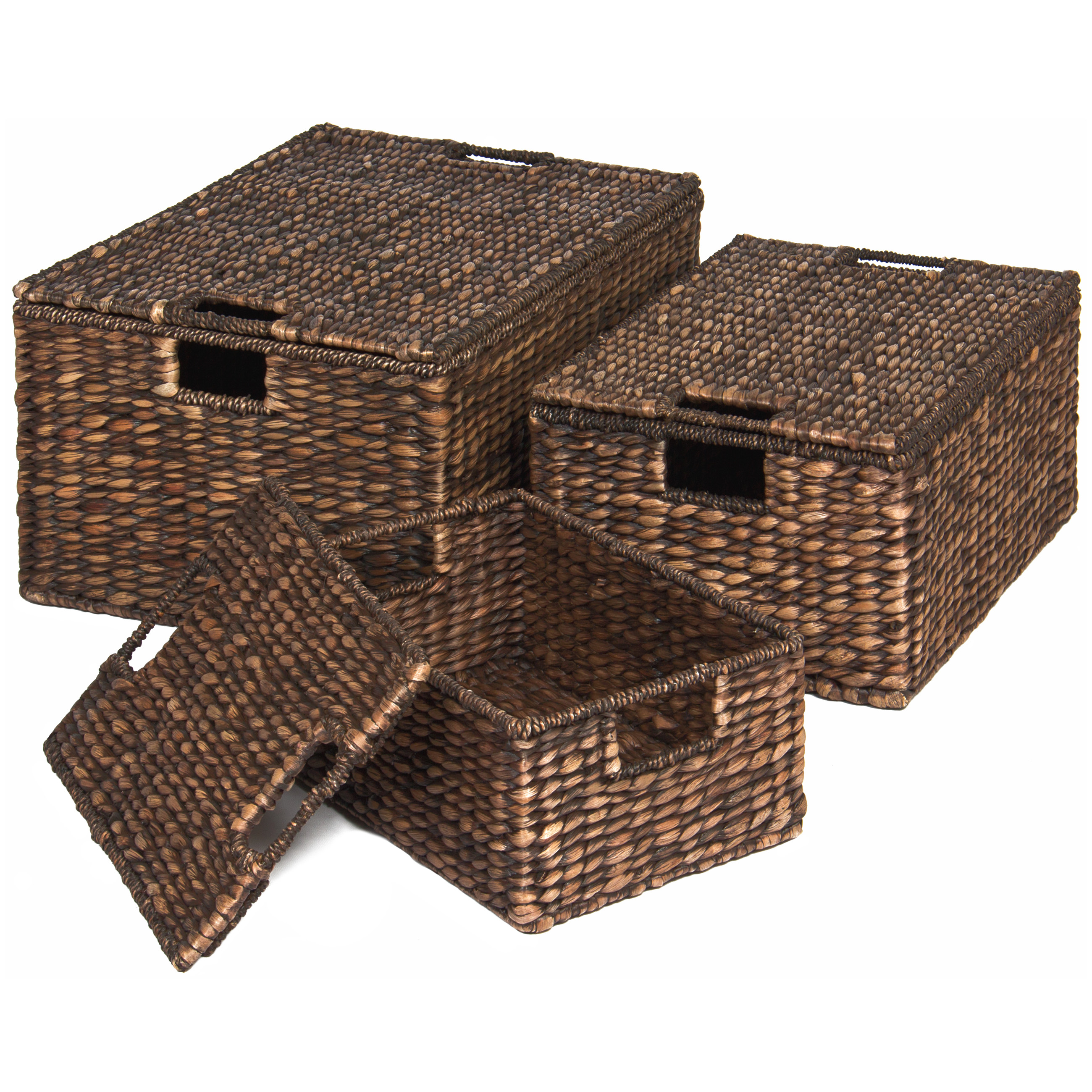 Best Choice Products Set of 3 Water Hyacinth Nesting Baskets W/ Separate Lids Brushed Espresso