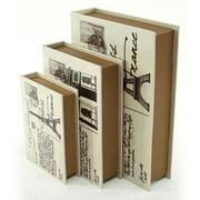 Aspire Home Accents Paris Faux Book Boxes - Set of 3