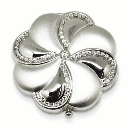 Silver Tone Brass Swarovski Elements Compact Mirror Woman Pill Box Lipstick Holder For (Promotional Compact Mirrors)