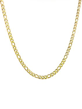 Gold Plated Stainless Steel Figaro Chain Necklace (9mm) - 24