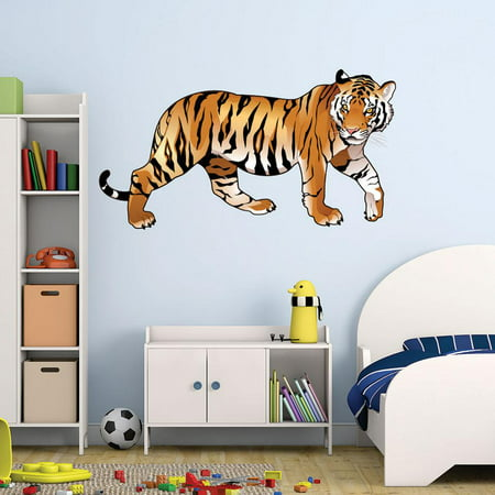 Colorful Tiger Wall Decal By Style & Apply - Wall Sticker, Vinyl Wall Art, Home Decor, Wall Mural - Sd4052 - - Tigers Wall Decals