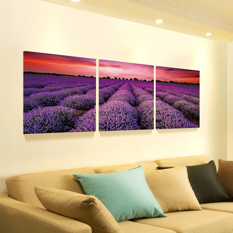 "Furinno SENIC Stunning Lavender Field Landscape 3-Panel Canvas on Wood Frame, 60"" x 20"""