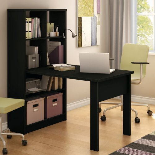 South Shore Annexe Collection Work Table with Storage Unit Pure Black