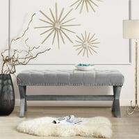 Inspired Home Gianna Button Tufted Nailhead Trim Velvet Bedroom Bench