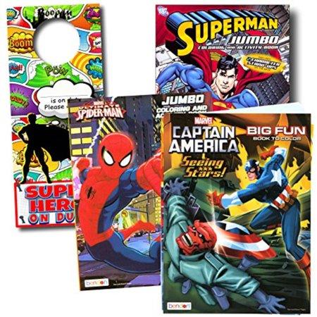 Bendon Intl Classic Superheroes Coloring Books Bundle - Spiderman -  Superman - Captain America