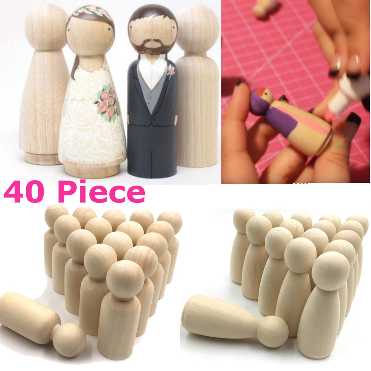 20Pcs Natural Unfinished Wooden Girl Boy Peg Doll Wedding Cake Toppers DIY Craft