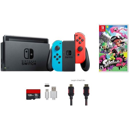 Nintendo Switch Bundle (6 items): 32GB Console Neon Red Blue Joy-con, Game Disc-Splatoon 2, 128GB Micro SD Card, Type C Cable, HDMI (Micro Parent Console)