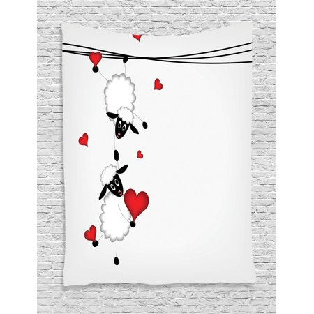 Sheep Tapestry - Animal Decor Wall Hanging Tapestry, Sheep Couple With Heart Shapes In Love Hanging On Washing Line Fun Comic Cartoon Art, Bedroom Living Room Dorm Accessories, By Ambesonne