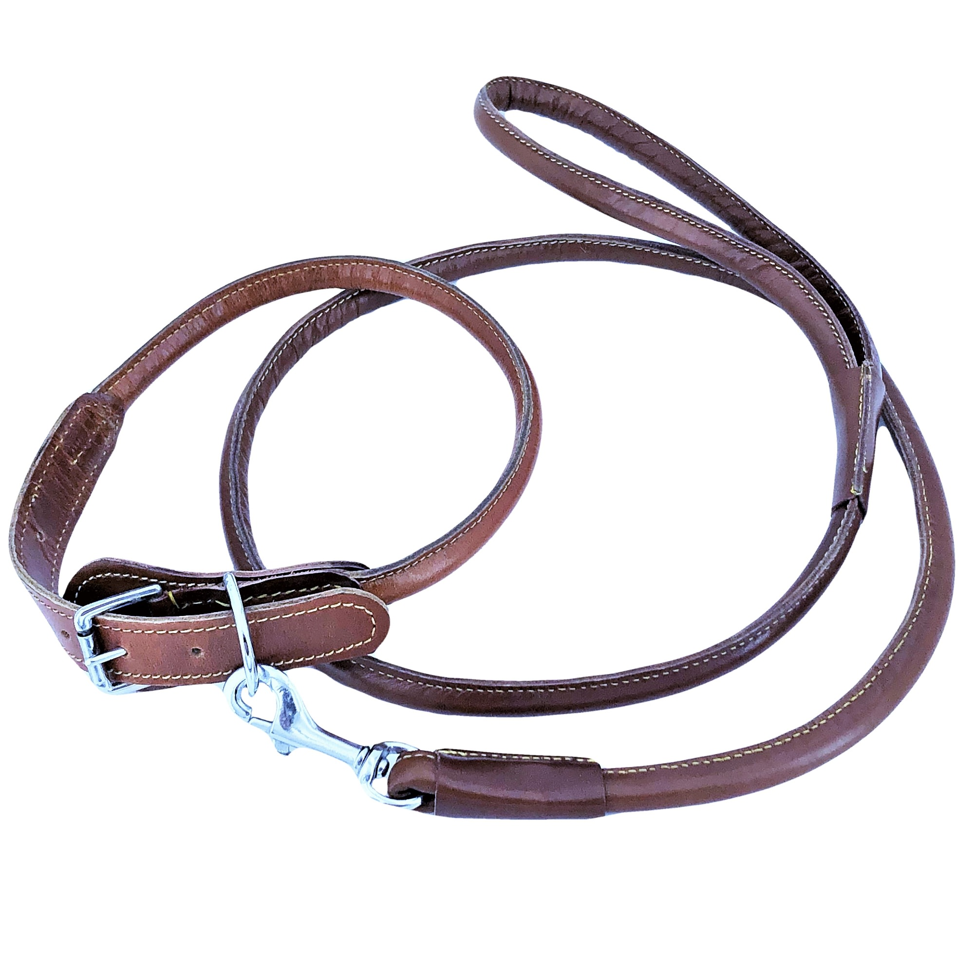 """Genuine Leather Round Circle Rolled Dog Collar with Leash 4ft for Medium Large Pet sz M: Neck 12"""" - 16"""""""