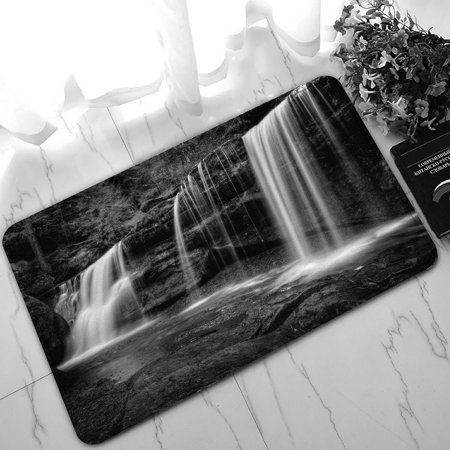 PHFZK Natural Landscape Doormat, A Hidden Waterfall in Hocking Hills Ohio in Black and White Doormat Outdoors/Indoor Doormat Home Floor Mats Rugs Size 30x18 inches