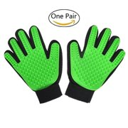 1 Pair-Green Pet Grooming Glove Cat Dog Hair Removal Mitt Collect Remove Extra Fur Pick up Stray Hairs Function for Small Big Medium Dogs Cats Horses Rabbits,Soft Massage Bath Shedding Brush Tool