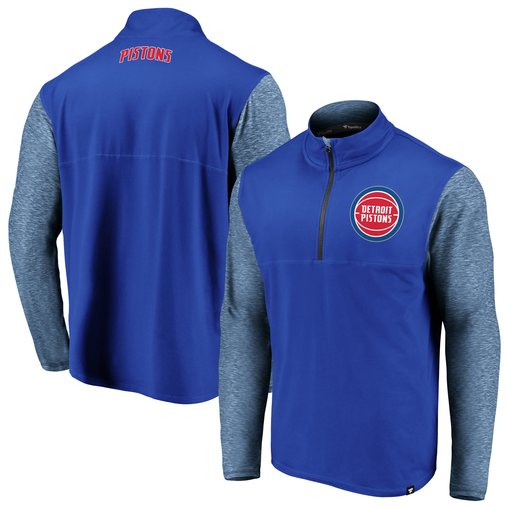 Detroit Pistons Fanatics Branded Made to Move Static Performance Quarter-Zip Pullover Jacket - Blue/Heathered Blue