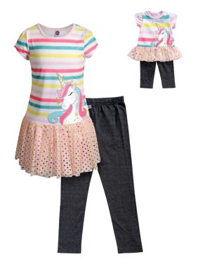 dca6cb115 Product Image Rainbow Unicorn Top & Legging, 2-Piece Outfit Set With  Matching Doll Set (