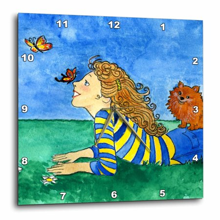3dRose dog Pomeranian butterflies girl happy field whimsical watercolor outdoors blue sky - Wall Clock, 10 by 10-inch