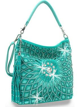 3de7d98e6 Product Image Starburst Rhinestone Hobo Bag with Shoulder Strap Turquoise