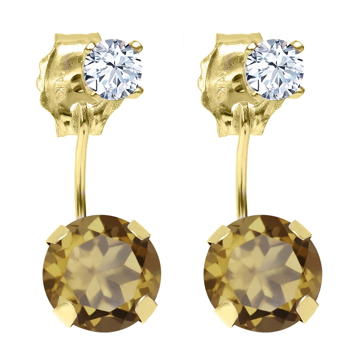 1.82 Ct Round Whiskey Quartz 14K Yellow Gold Earrings