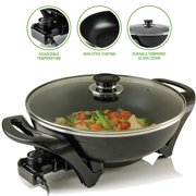 Ovente Electric Skillet 13 Inch with Non Stick Aluminum Coating Body and Adjustable Temperature Controller, Frying Pan with Tempered Glass Cover and Cool-Touch Handles, Black (SK3113B)