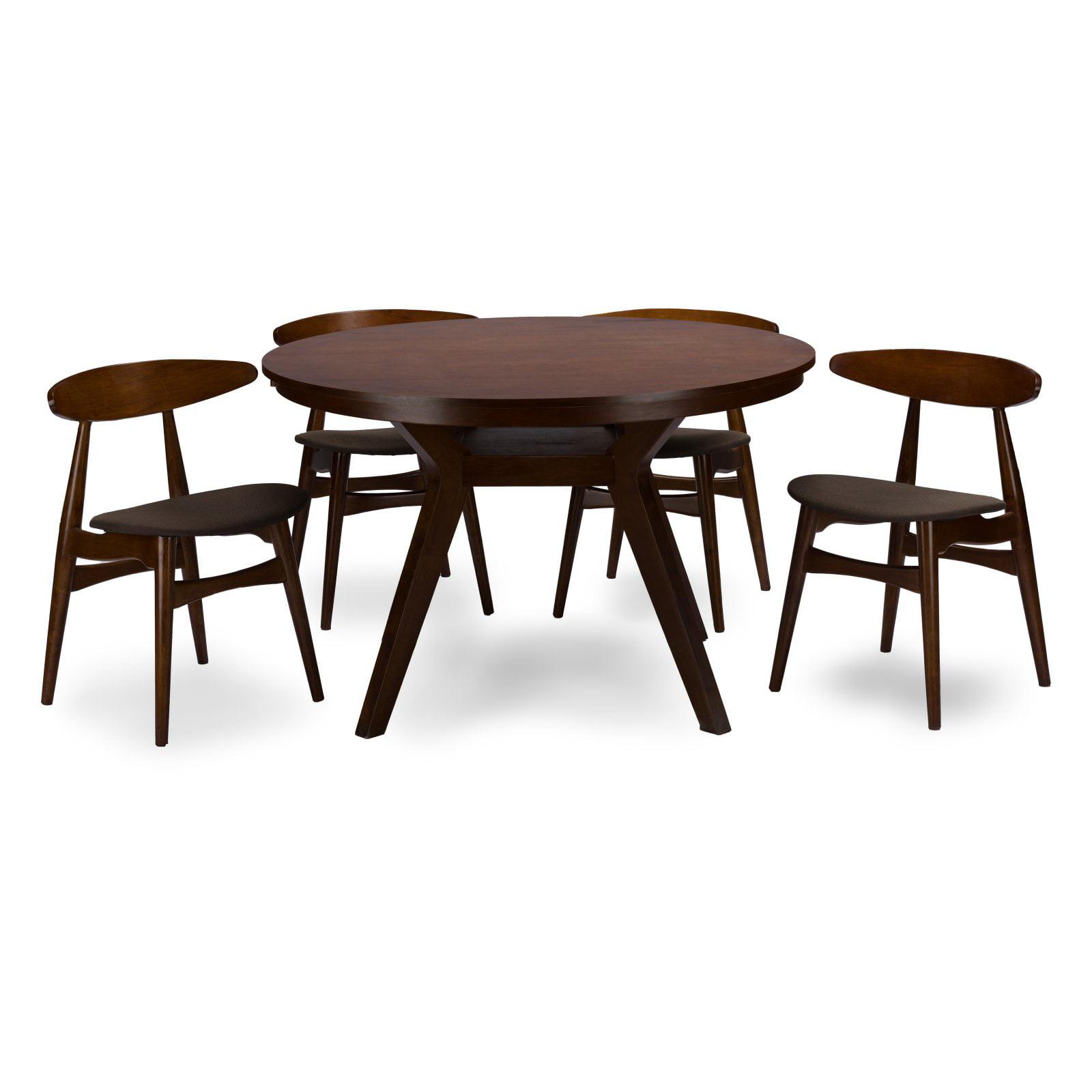Baxton Studio Flamingo 5 Piece Round Dining Table Set