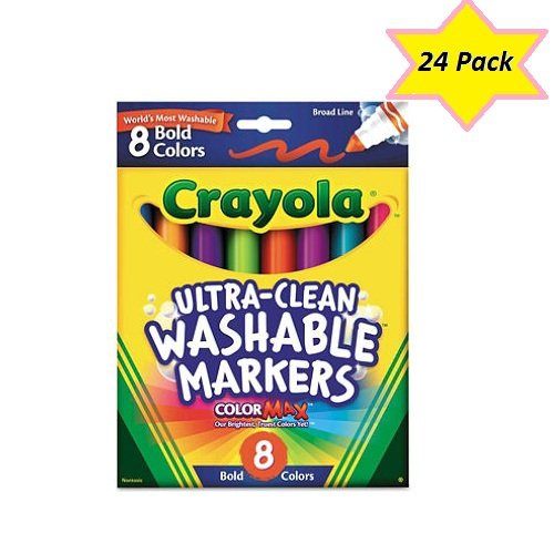 Crayola Bold Broad-Line Washable Markers, 8 Count (Case Of 24)
