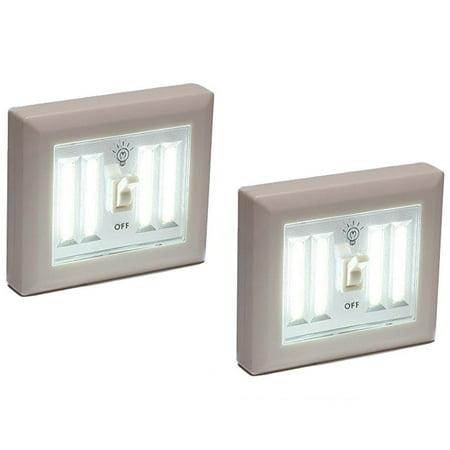 (2 Pack) Wireless Night Light Wall Switch COB LED 400 Lumens Battery Operated