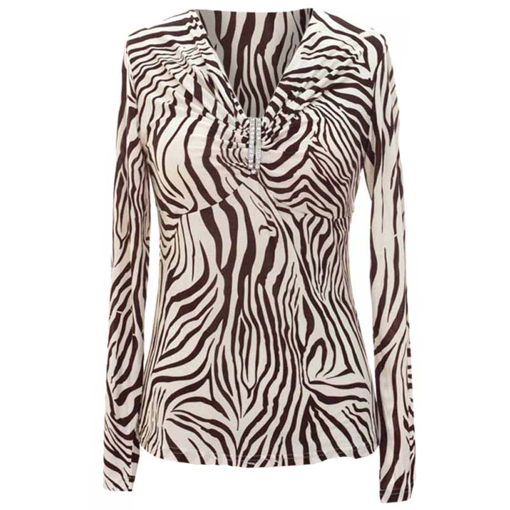 Luxury Divas Long Sleeve Animal Print Top With Rhinestone Broach