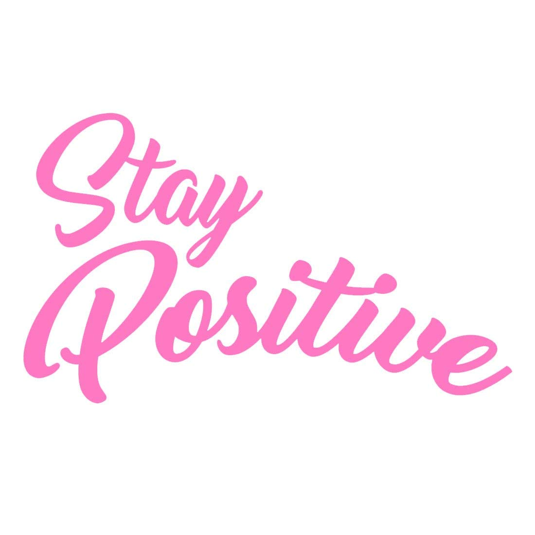 "VWAQ Stay Positive Vinyl Wall Decal, Uplifting Positivity Wall Decor -18120 (Hot Pink, 18"" H X 30"" W)"