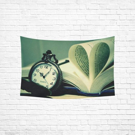 CADecor Pocket Watch With Books Bedspread Dorm Decor Wall Hanging Tapestry 40x60 inches