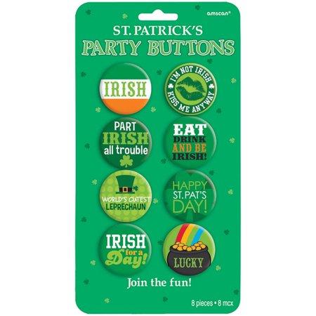 St. Patrick's Day Party Button 8 Piece Set