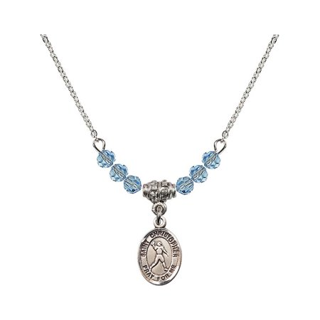 18-Inch Rhodium Plated Necklace with 4mm Blue March Birth Month Stone Beads and Saint Christopher/Football Charm](Football Bead Necklace)