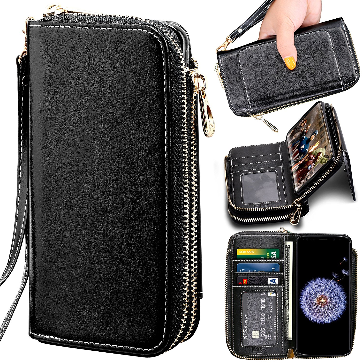 Samsung galaxy S9 PLUS Wallet Case , ELV [PU Leather] Premium Detachable 2in1 Folio Wallet Purse Samsung S9 PLUS Credit Card Flip Case Protective with Card Slots, Stand and Magnetic Closure