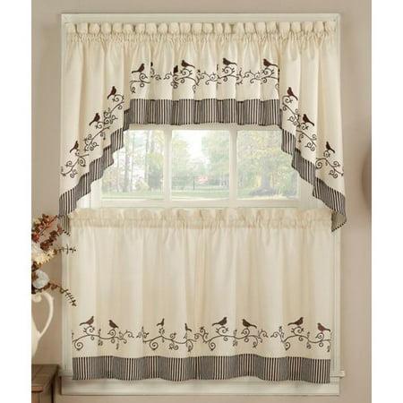 Chf birds kitchen curtain 24 tier pair - Kitchen curtains walmart ...