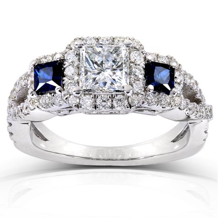 Blue Sapphire & Diamond Engagement Ring 1 3/4 carat (ctw) In 14k White