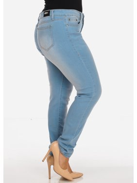 Womens Juniors Plus Size Casual Classic Stretchy One Button 5 Pockets Light Blue Wash Slim Fit Skinny Jeans 10496W