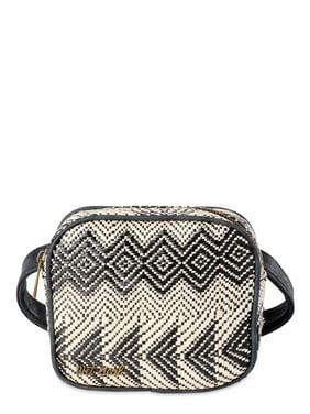 Wet Seal Boho Patterned Black Straw Waist Bag