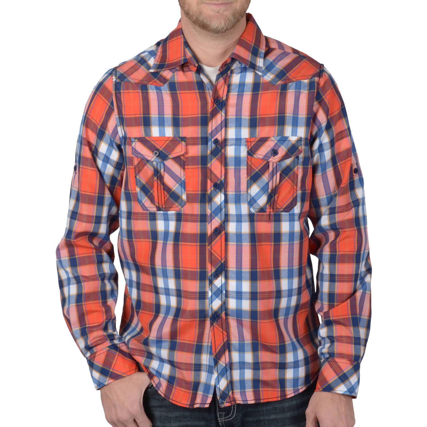 Daxx Mens Button-up Rolled Sleeve Plaid Shirt
