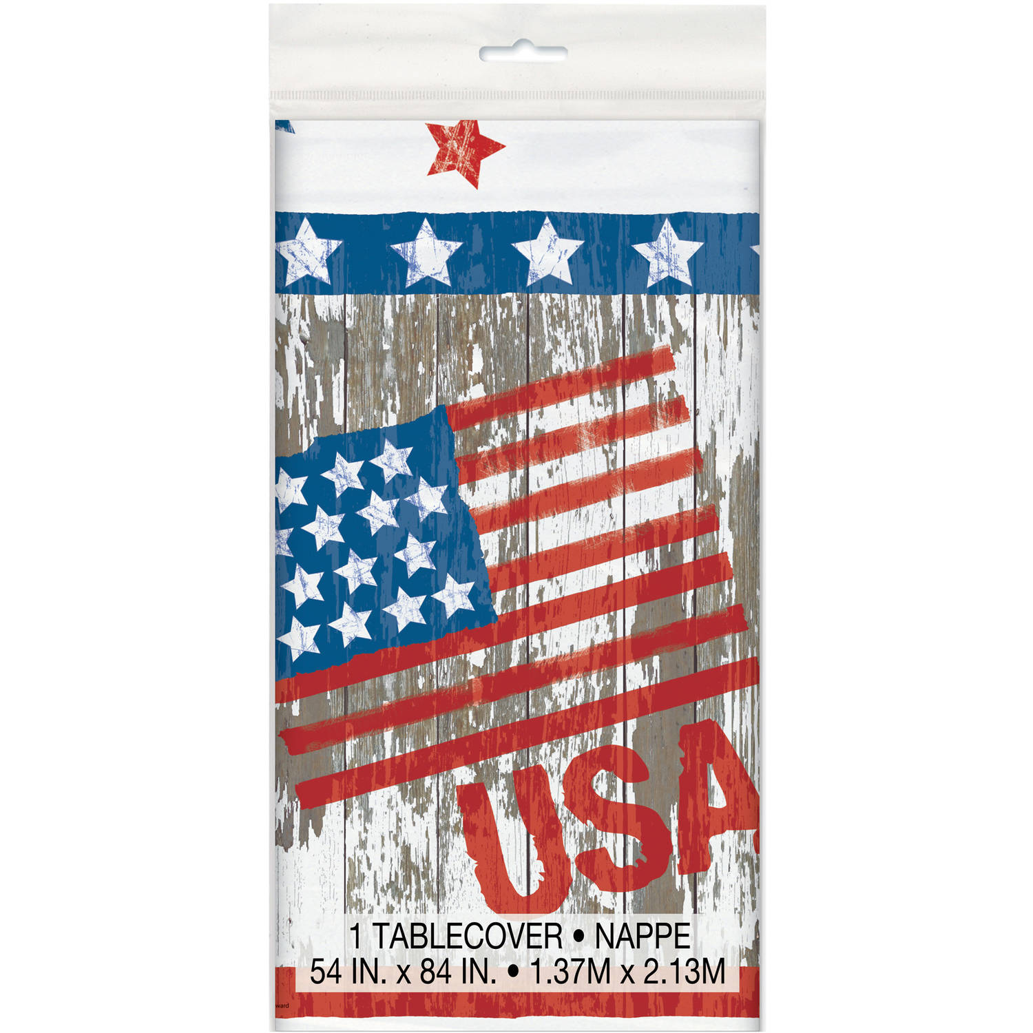 Vintage American Flag Plastic Tablecloth, 84 x 54 in, 1ct