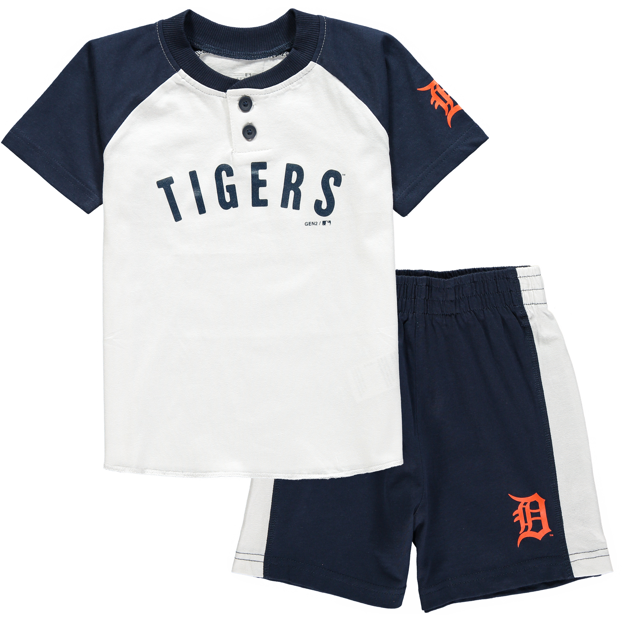 Detroit Tigers Toddler Good Hit Henley T-Shirt & Shorts Set - White/Navy
