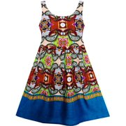 Girls Dress Sleeveless Halter Traditional Hand Painting Style Blue 4