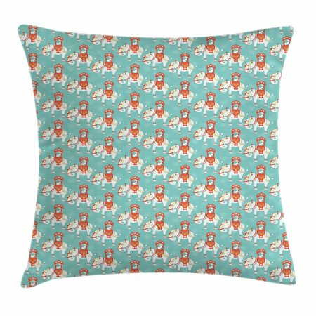 Elephant Throw Pillow Cushion Cover, Eastern Elephant with Great King on Its Back Asian Culture Theme, Decorative Square Accent Pillow Case, 16 X 16 Inches, Mint Green Vermilion White, by Ambesonne