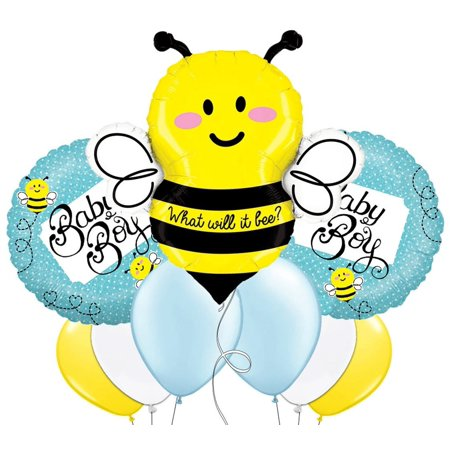 Custom, Fun & Cool 9 Pack of Helium & Air Inflatable Mylar/Latex Balloons w/ What Will It Bee Baby Boy Bumble Bee Polka Dot Design [Variety Assorted.., By mySimple Products