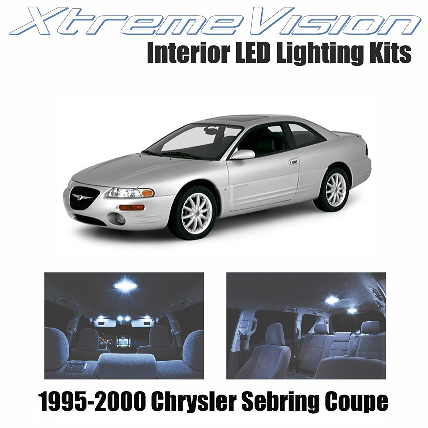 XtremeVision LED for Chrysler Sebring Coupe 1995-2000 (8 Pieces) Cool White Premium Interior LED Kit Package + Installation Tool