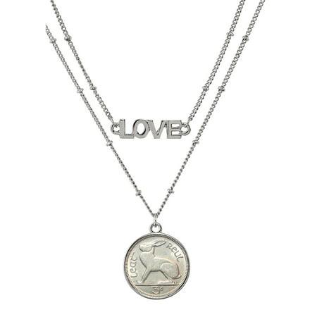 Irish Three Pence Rabbit Coin Double Strand Love Necklace