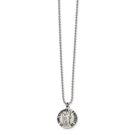 Mia Diamonds Stainless Steel Brushed and Enameled St. Christopher Medal Necklace Chain