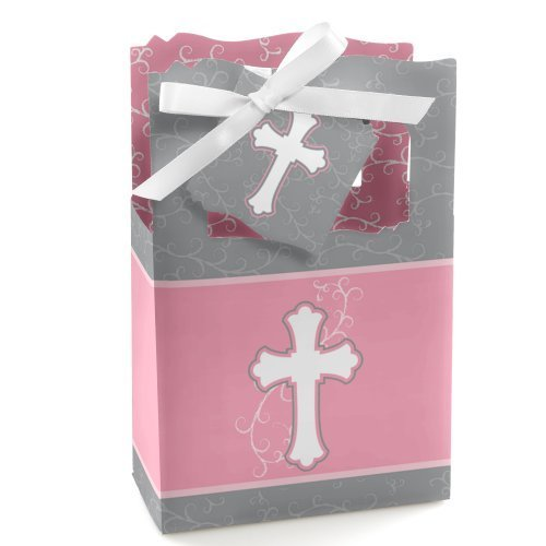 Little Miracle Girl Pink & Gray Cross - Baptism Party Favor Boxes - Set of 12