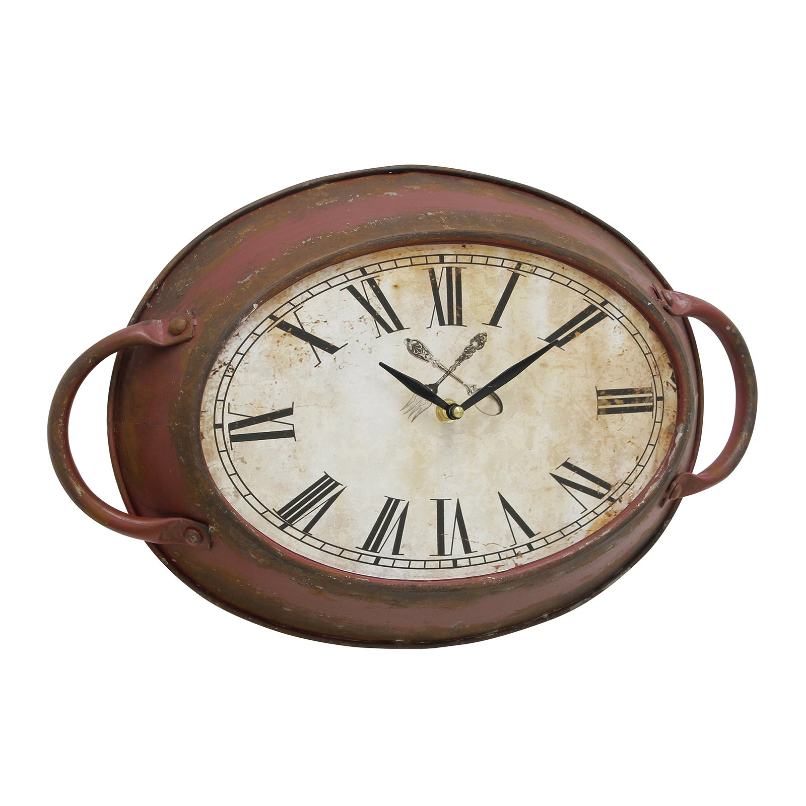 Red Rust Metal Oval Wall Clock