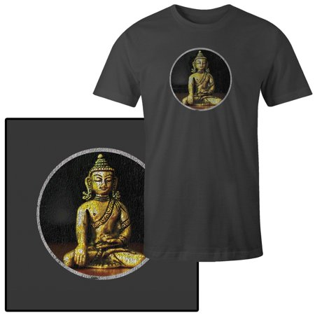 Men's Golden Buddha Statue On Wooden Surface And Black Background T-Shirt